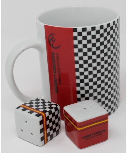 SALE! Mug + salt and shaker ¨Checkerd flag FA¨